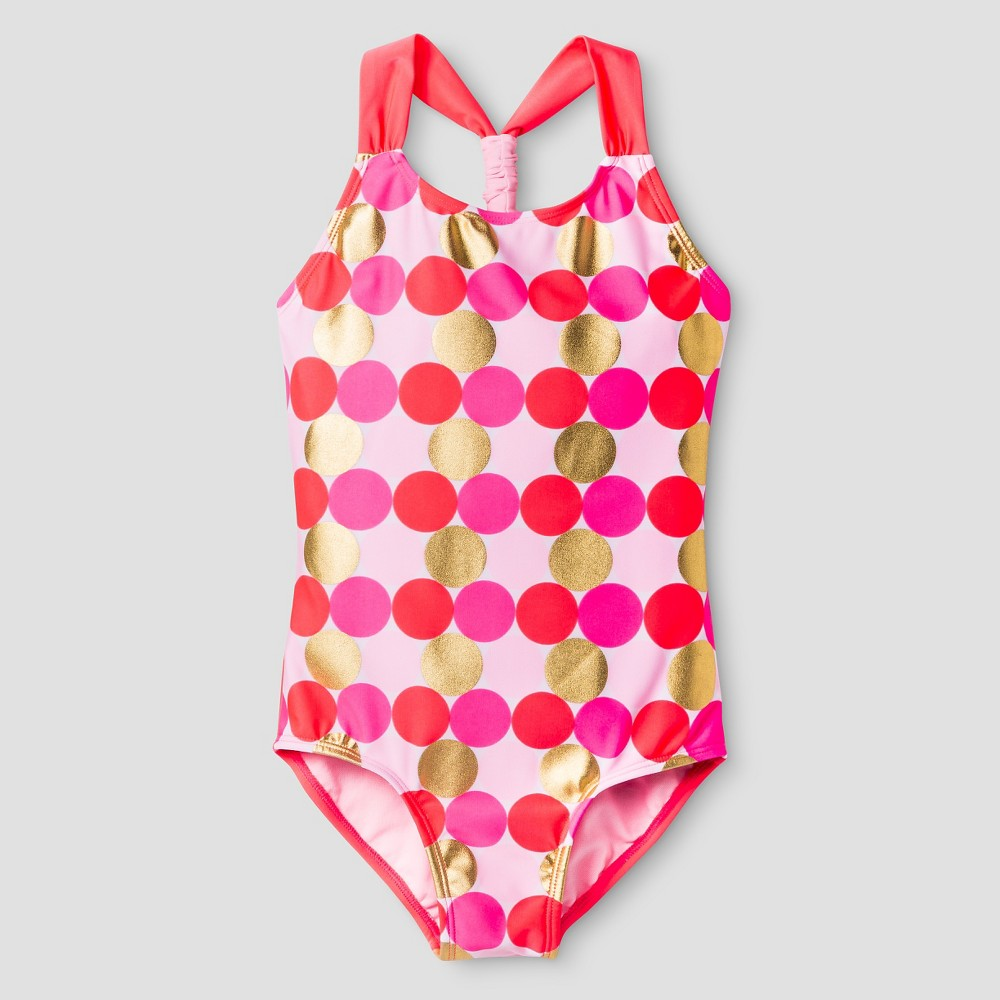 Girls Foil Dot One Piece Swimsuit - Cat & Jack Pink XL