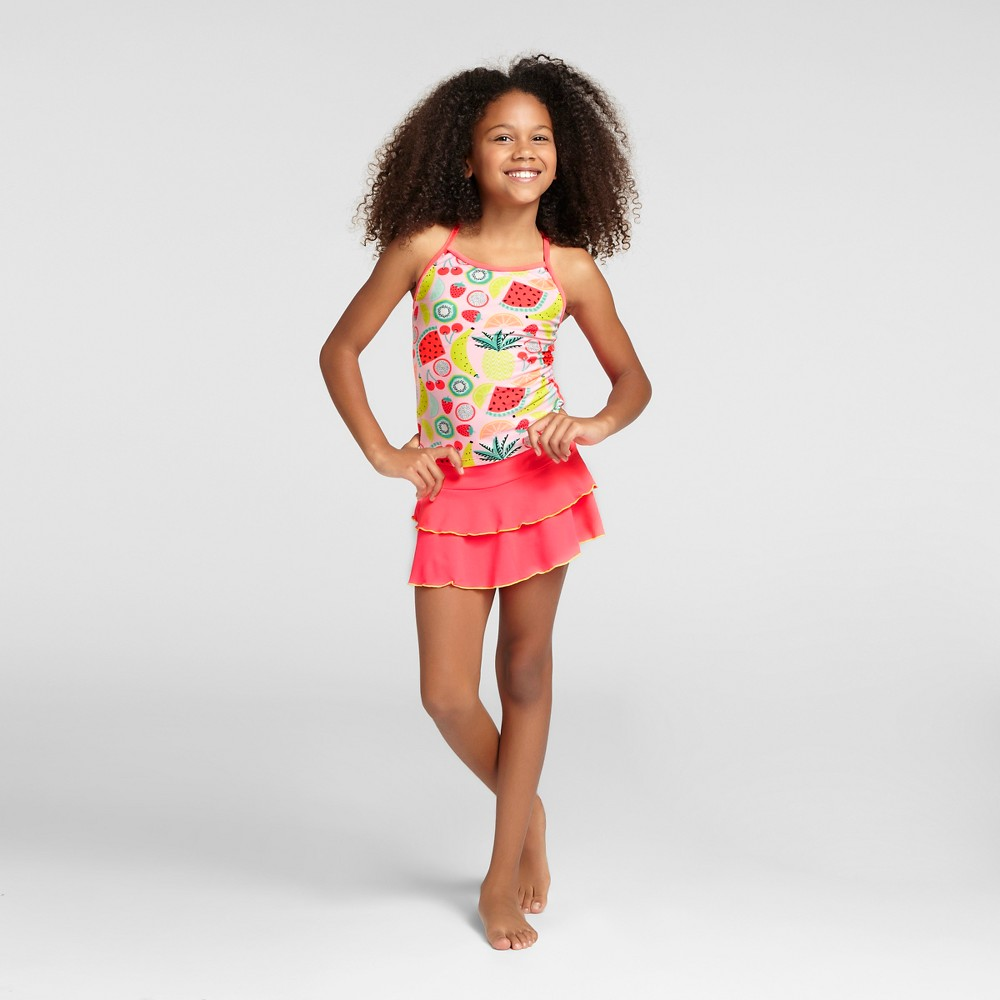 Girls Fruit Print Tankini with Skirt - Cat & Jack Coral XS, Pink