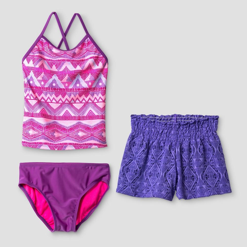 Girls Tribal Tankini Set with Crochet Shorts - Cat & Jack Purple XS