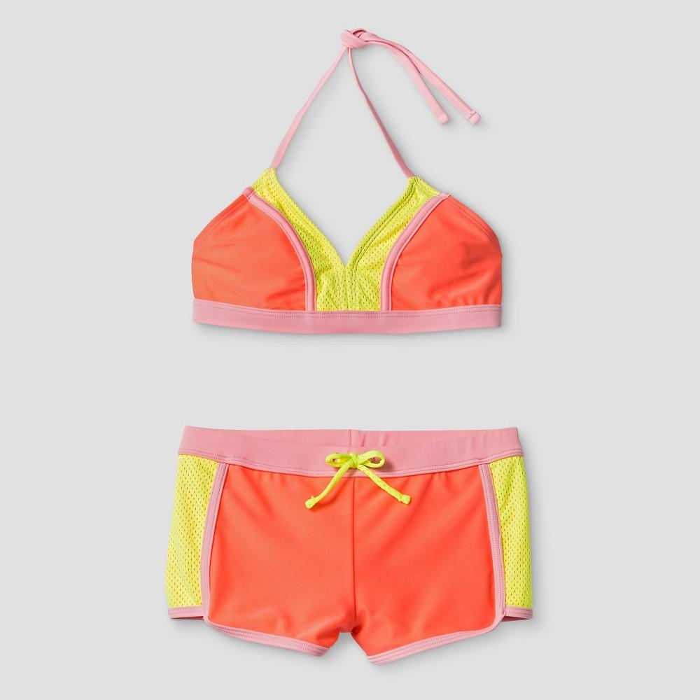 Girls Colorblock Bikini - Xhilaration Coral XS, Pink