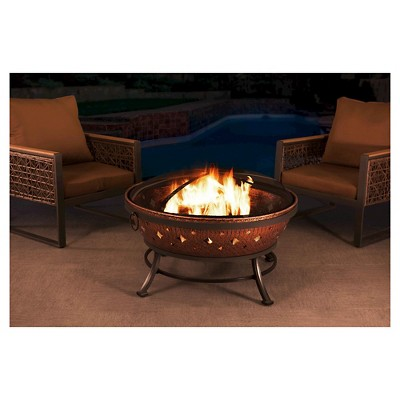 Sunjoy 35  Steel with Copper Finish Woodburning Fire Pit