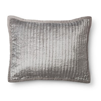 Gray Washed Velvet Quilted Sham (Standard)- Fieldcrest™