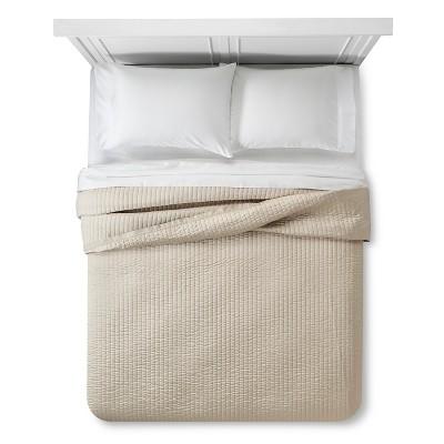 Cream Sateen and Linen Quilt (Full/Queen)- Fieldcrest™