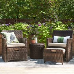 Halsted 5pc Wicker Small E Patio Furniture Set Threshold 153