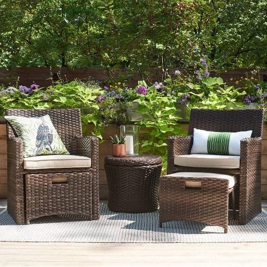 Halsted 5 piece wicker small space patio furniture set for Outdoor furniture for small front porch
