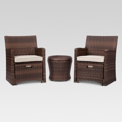 Halsted 5 Piece Wicker Small Space Patio Furniture Set   Threshold ...