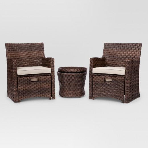 Halsted 5 Piece Wicker Small Space Patio Furniture Set