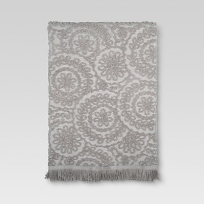 Medallion Fringe Bath Towels Gray - Threshold™