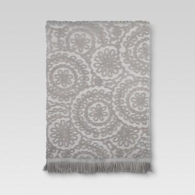 Medallion Fringe Bath Towels Gray - Threshold™