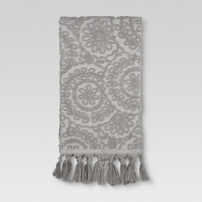 Medallion Fringe Hand Towels Gray - Threshold™