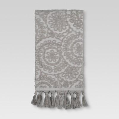 Medallion Fringe Hand Towels Gray - Threshold™