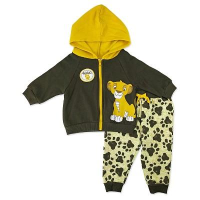 Baby Boys' Disney® Lion King Simba 2 Piece Hoodie & Pants Set - Brown 0-3M