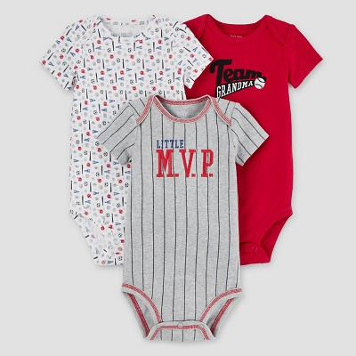 Baby Boys' 3pk Baseball Bodysuit Set - Just One You™ Made by Carter's® Red 9M