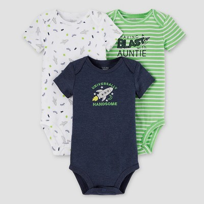 Baby Boys' 3pk Outer Space Bodysuit Set - Just One You™ Made by Carter's® Blue/Green NB
