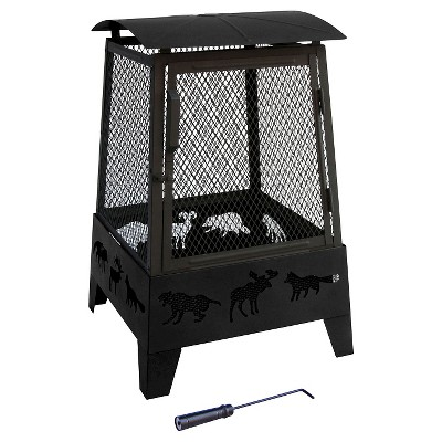 Landmann Haywood Fire Pit with Wildlife cutouts Steel - Black