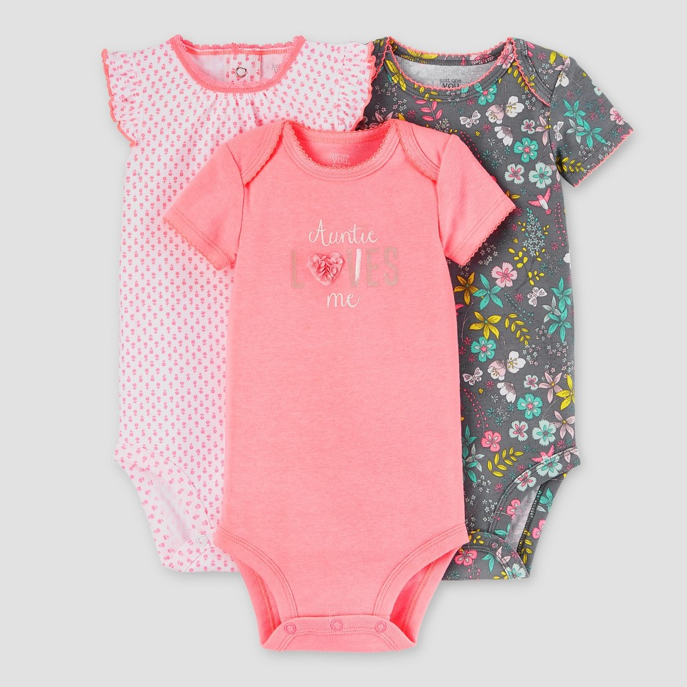 Baby Girls' 3 Pack Auntie Loves Me Bodysuit Set Pink/Grey 6M – Just One You Made by Carter's, Infant Girl's, Size: 6 M
