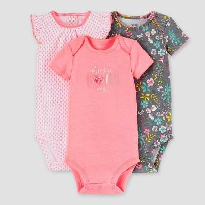 Baby Girls' 3pk Auntie Loves Me Bodysuit Set - Just One You™ Made by Carter's® Pink/Gray NB