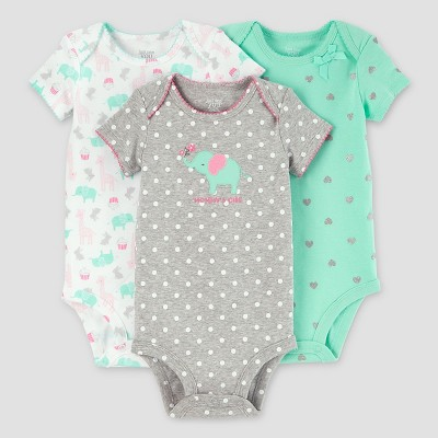 Baby Girls' 3pk Dot Elephant Bodysuit Set - Just One You™ Made by Carter's® Gray/Mint NB