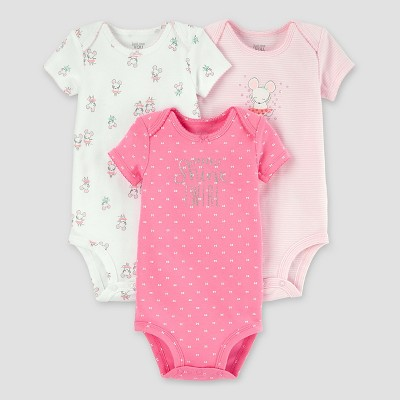 Baby Girls' 3pk Mouse Bodysuit Set - Just One You™ Made by Carter's® Pink 24M