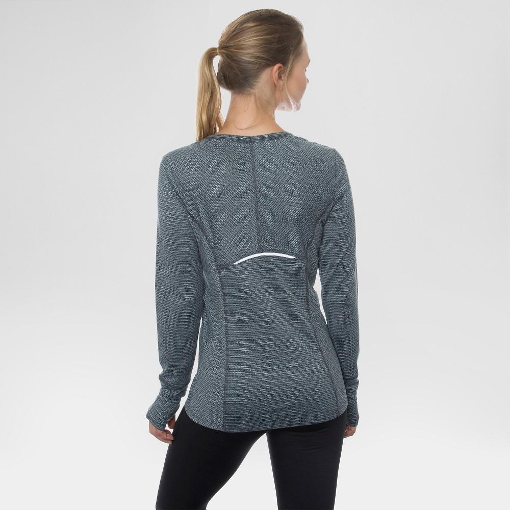 Women's Long Sleeved Peached Jacquard Striped T-Shirt Black Combo M - Rbx