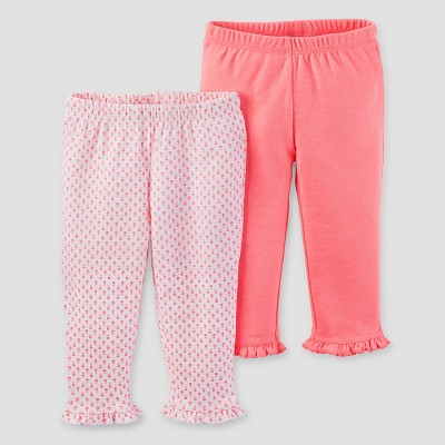 Baby Girls' 2pk Pants Set - Just One You™ Made by Carter's® White/Pink 9M
