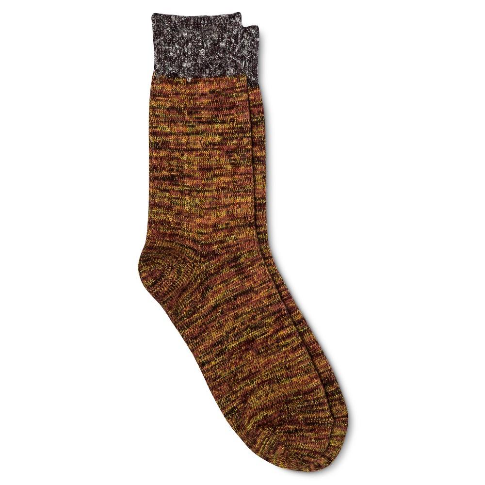 Legale Women's Boucle Top Space Dye Crew Socks – Orange One Size Fits Most, Mesmerizing Orange