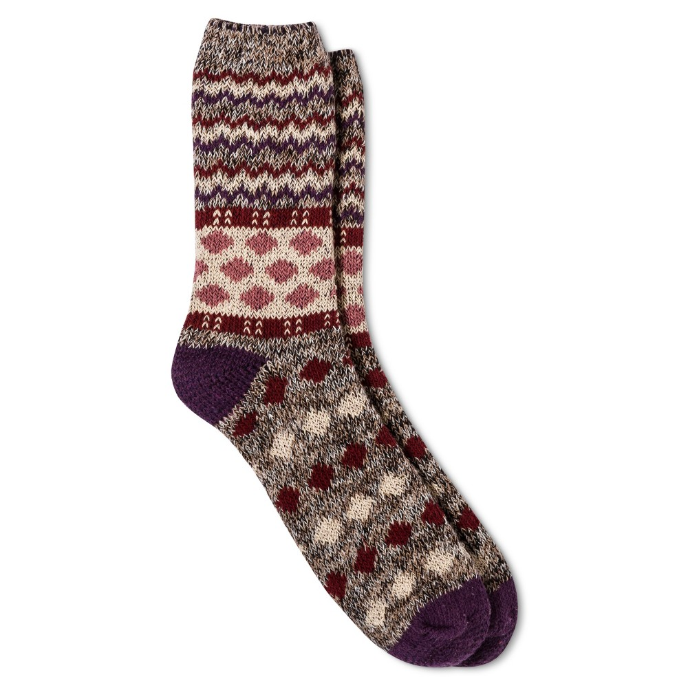 Legale Womens Mixed Print Novelty Crew Socks - Purple One Size
