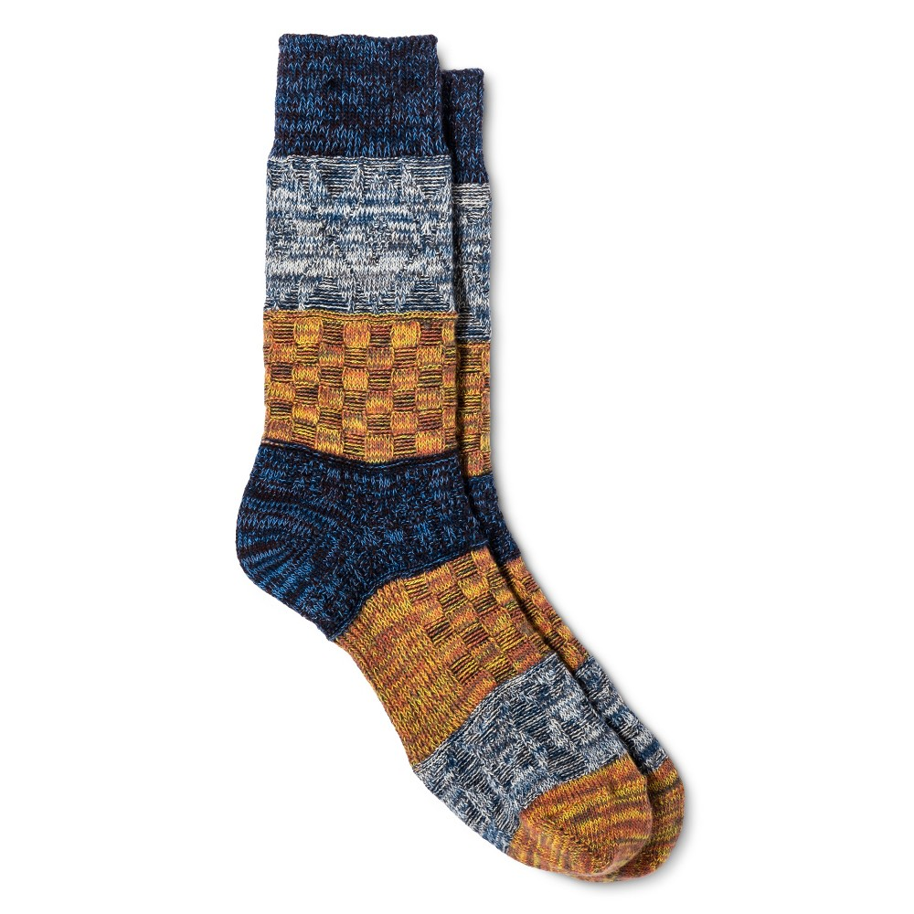 Legale Womens Multi Texture Color Block Crew Socks - Blue One Size