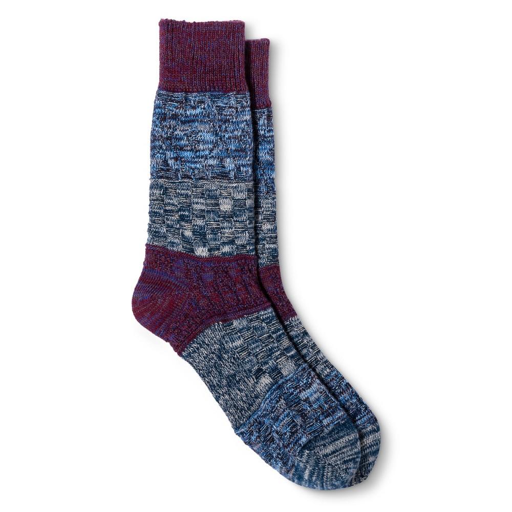 Legale Womens Multi Texture Color Block Crew Socks - Purple One Size