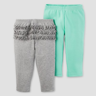 Baby Girls' 2pk Pants Set - Just One You™ Made by Carter's® Gray Ruffle/Mint NB