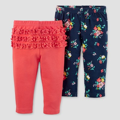 Baby Girls' 2pk Pants Set - Just One You™ Made by Carter's® Red Ruffle/Navy Floral 3M