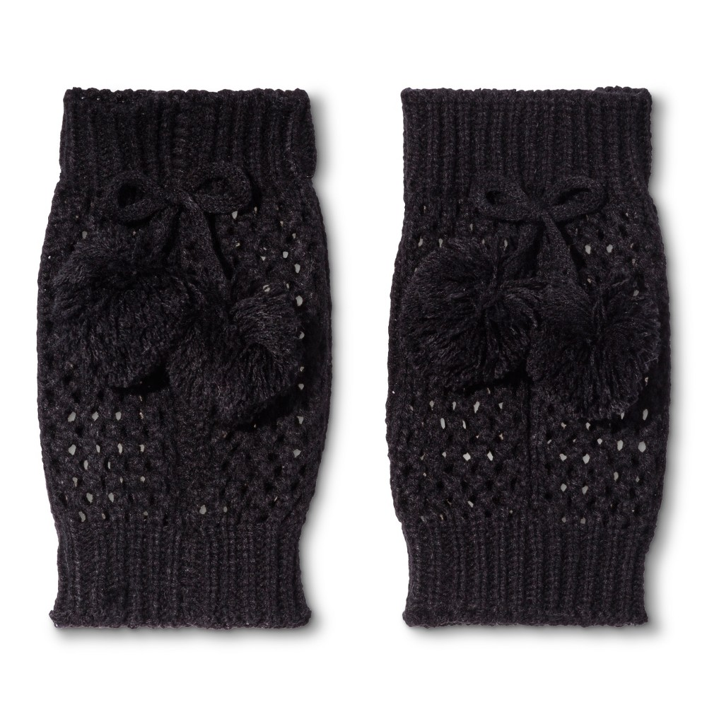 Legale Women's Crochet Boot Cuff with Poms - Black One Size