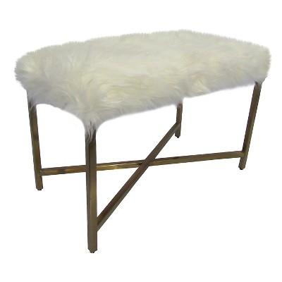 Faux Fur Bench - White/Gold - Threshold™