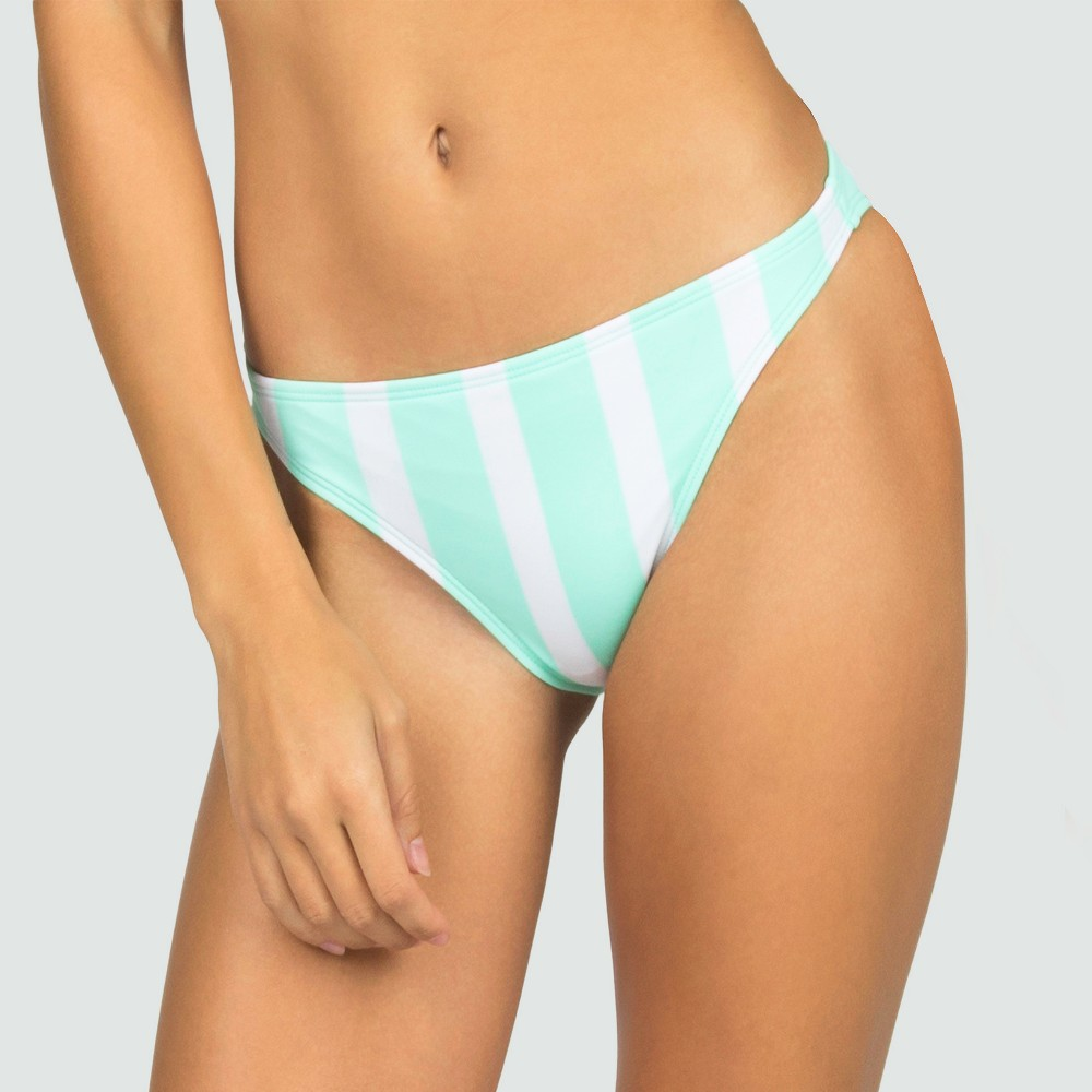 Womens Striped Flamingo Cheeky Bow Bikini Bottom - Mint XS - Sugar Coast by Lolli, Blue
