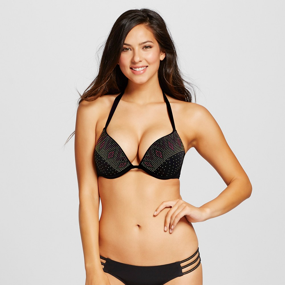 Womens Shell Embellished Push-Up Halter Bikini Top - Shade & Shore Black 34D