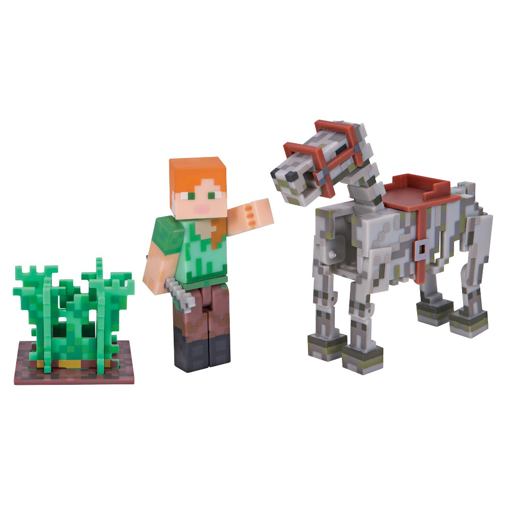 Minecraft Alex with Skeleton Horse Pack, Multi-Colored