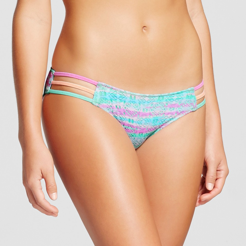 Womens Sun Coast Strappy Cheeky Bikini Bottom - Shade & Shore Violet Tie Dye Crochet XL