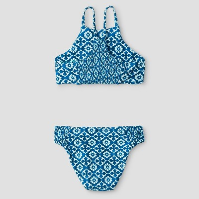 Toddler Girls' Seafoam by Tori Praver Samoa Moroccan Tile 2-Piece Bikini Swimsuit Turquoise Reef 3T, Toddler Girl's, Blue