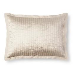 Cream Sateen and Linen Quilted Sham - Fieldcrest™