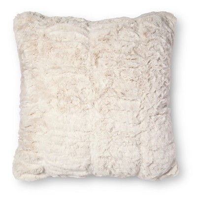 White Pleated Faux Fur Square Throw Pillow - Fieldcrest™