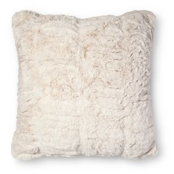 White Pleated Faux Fur Square Throw Pillow - Fieldcrest™