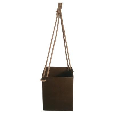 Metal Square Hanging Planter, Farmhouse -Rustic Brown - Threshold™