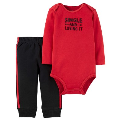 Just One You™ Made by Carter's® Baby Boys' Single and Loving It 2pc Pant Set - Red 3M