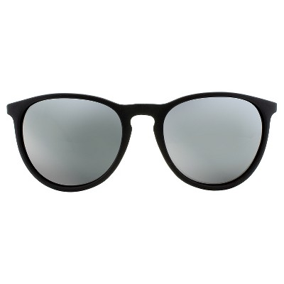 Men's Round Sunglasses with Shiny Gun Metal Temples and Gun Metal Mirror Lenses - Matte Black