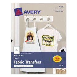 Avery® Light Fabric Transfers for Inkjet Printers, 8 1/2 x 11, White, 18pk
