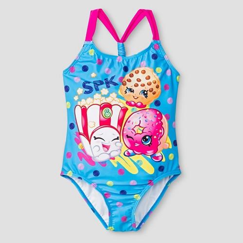 Girls' Shopkins One Piece Swimsuit M - Blue, Girl's