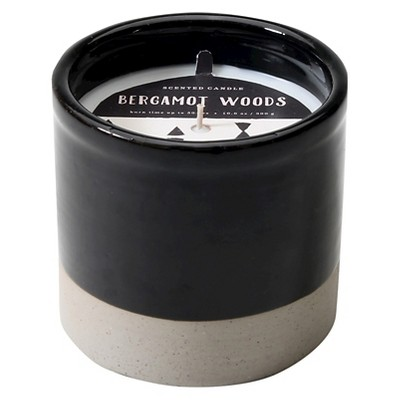Ceramic Container Candle Bergamot Woods Black 10.6oz