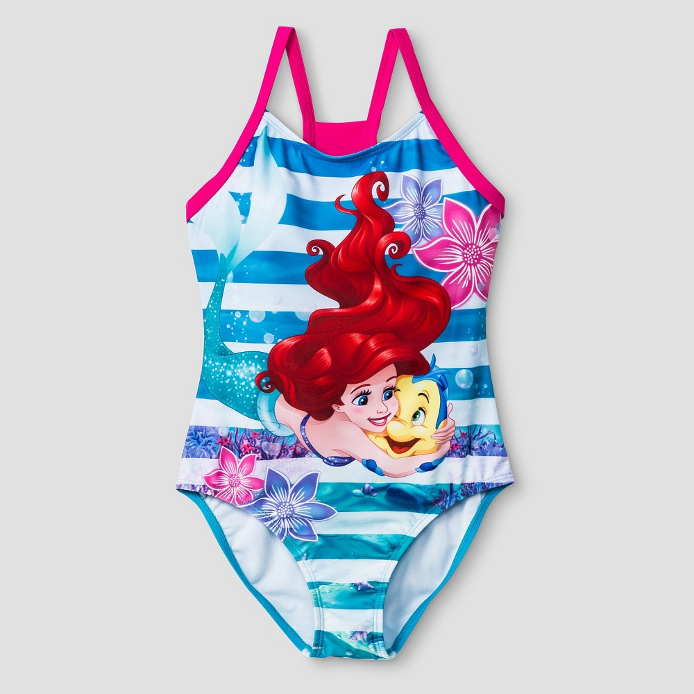 Girls The Little Mermaid One Piece Swimsuit XS -Blue, Blue