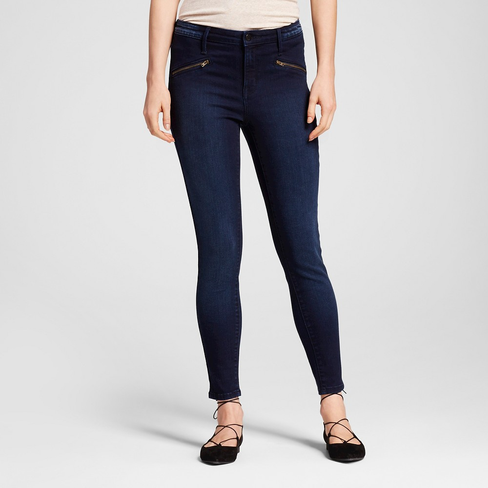 Womens High-Rise Jeggings - Mossimo Black 0L, Size: 0 Long, Blue