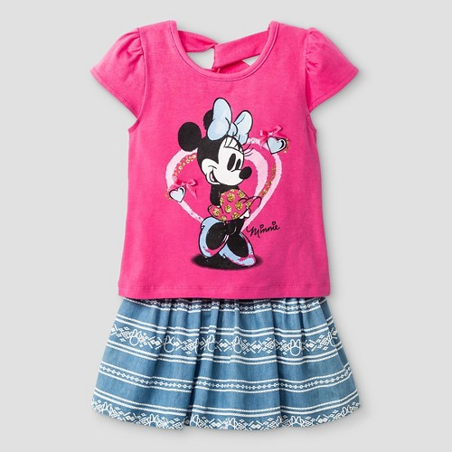 Toddler Girls' Minnie Mouse Top And Bottom Set Disney Pink 5T, Toddler Girl's
